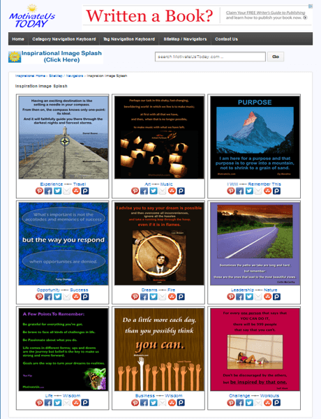 a picture of the front page of our new website - filled with inspirational pictures with quotes on them